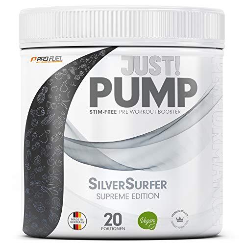 Pump Booster ohne Koffein mit innovativer Formel aus Aminosäuren und Pflanzenextrakten – Pre Workout Booster 400g - TROPICAL FRUITS (Silver Surfer)