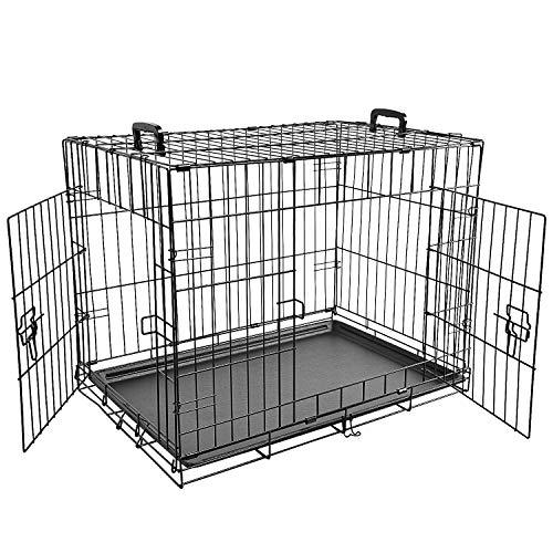 LEMKAペットケージ折りたたみ式ダブルドア大型犬用中型犬用小動物用全成長期使用可室内外兼用犬ゲージ組立簡単持ち運び便利猫犬ケージうさぎ犬小屋トレイ付き持ち手付き(91x61x71cm,ブラック)