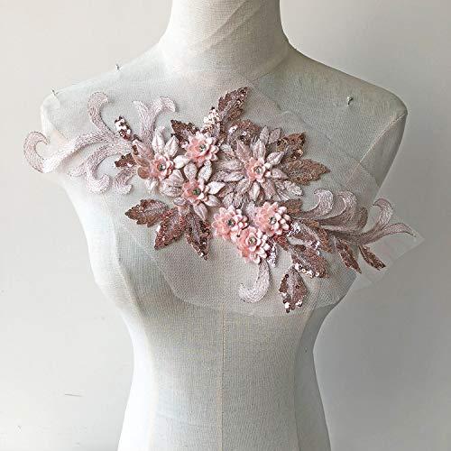 Exquisite 3D Flower Applique,Beaded,Sequined Floral Patch Lace Appliques Motif Sew onto Dance Costumes Evening Dresses Pale Pink Color