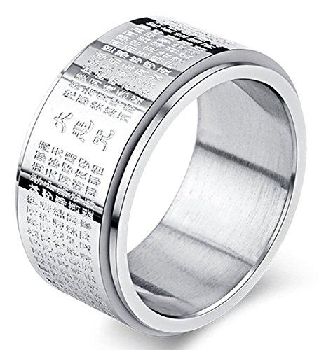 LILILEO Gioielli in Acciaio Inossidabile, 11mm Tibetano Buddista Spinner Lucky Ring The Great Compassion Mantra inciso Anelli e Acciaio Inossidabile, 19,5