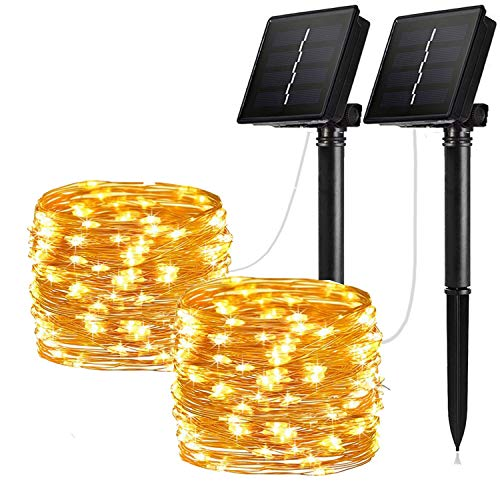 Solar String Lights 8 working modes, 2 Pack 100 LED Solar Fairy Lights 33 ft Copper Wire Lights Waterproof Outdoor String Lights for Garden Patio Gate Yard Party Wedding Warm (Solar Warm 2-Pack)