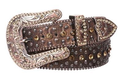 "Western Cowgirl Faux Alligator Rhinestone Studded Leather Belt, Brown | 36"""