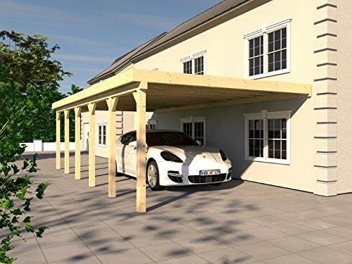 Anlehncarport Carport HARZ VIII 400x900cm Leimbinder Fichte + PVC-Dacheindeckung
