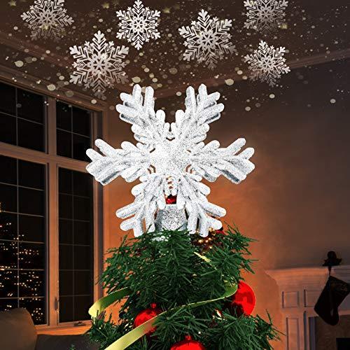 Idefair Iluminación navideña Proyector de árbol Topper,Lámpara de Pentagrama LED Decoración de Navidad con Copos de Nieve LED giratorios Iluminación Luces de diseño de Estrella Hueca 3D (Plata)
