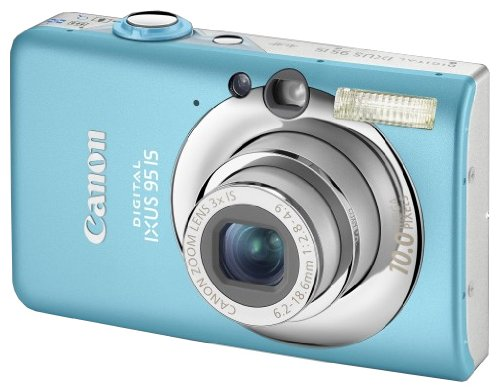 Canon Digital IXUS 95 IS Digitalkamera (10 MP, 3-fach opt. Zoom, 6,4cm (2,5 Zoll) Display, Bildstabilisator) blau