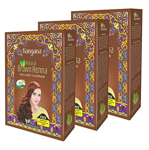 Kangana 100% Pure & Natural Henna Powder for Hair Dye - Natural Brown Henna Powder for Grey Hair Coverage - 6 pouches each - Total 180g (6.34 Oz)- Pack of 3