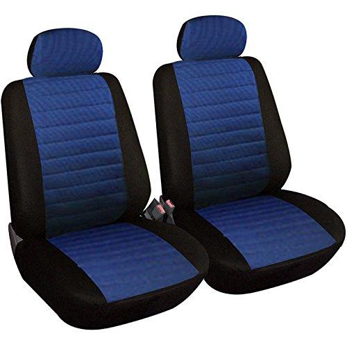 WOLTU 2X Fundas de Asiento para Coche Universal Delantero Cubierta para Asiento Automóvil sin Bolsa de Aire Poliéster Negro/Azul 7232-2