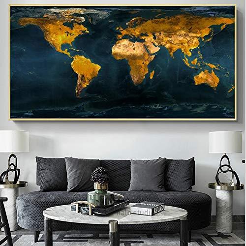 PLjVU Carteles y Grabados murales murales lienzos Sala de Estar Dorado Mapa del Mundo Fotos decoración del hogar Estante-Sin marco50X100cm