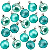 Juvale 36-Pack Christmas Tree Ornaments - Teal Green Shatterproof Medium Christmas Balls Decoration, Assorted 3-Finish Pearly Luster, Matte, Glitter, Hanging Plastic Bauble Holiday Decor, 2.3 Inches