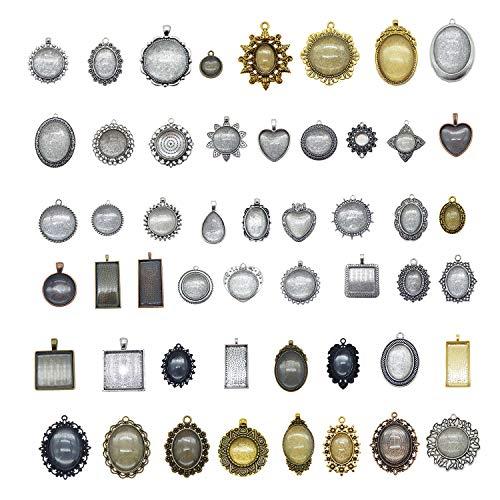 Julie Wang Anhänger Blank Antik Bronze Silberfassung ohne Duplikate, 20 Bezels With Glass Cover