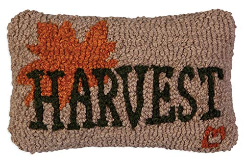 "Chandler 4 Corners Artist-Designed Harvest Maple Leaf Hand-Hooked Wool Decorative Petite Throw Pillow (8"" x 12"")"