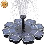Richarm Solar Fountain Pump, 2.5W Solar Birdbath Fountain Pond Pump Outdoor Floating Water Feature Water Circulation for Pool, Garden,Fish Tank,Aquarium,4 Nozzles Included