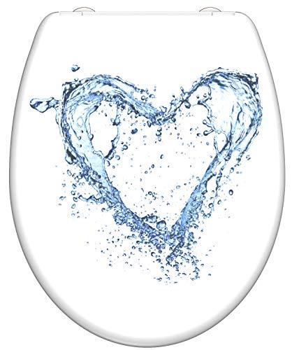 SCHÜTTE 82361 Duroplast WC-Sitz BLUE HEART mit Absenkautomatik und Schnellverschluss,
