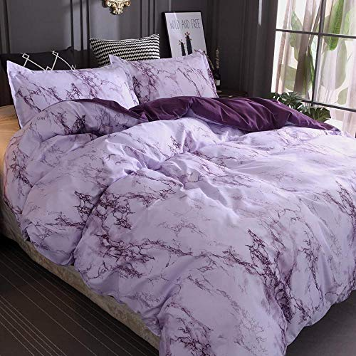Hqooaceo 3D Modern Pattern Bedding Set Duvet Cover Set Simple Grape Color Marble Texture Super King (260 X 230 Cm) Comforter Cover 3 Pieces Bed Sets With 2 Pillow 50 X 75 Cm