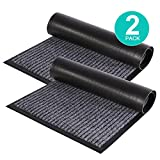 ZUCI 2-Pack Striped Door Floor Mat - Indoor Outdoor Rug Entryway Welcome Mats with Rubber Backing for Shoe Scraper, Ideal for Inside Outside High Traffic Area, Steel Gray & Black 29.5' x 17'