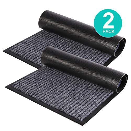 ZUCI 2-Pack Striped Door Floor Mat - Indoor Outdoor Rug Entryway Welcome Mats with Rubber Backing...
