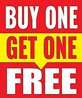 Buy One Get One Free Store ビジネス小売販売ディスプレイサイン 18インチ x 24インチ フルカラー 5パック