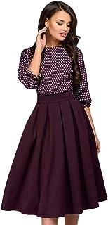 adcffe61f0a01 TIMEMEAN Damen 3/4 Ärmel Kleid Lässiges hübsches Druckkleid Frauen  Partykleid