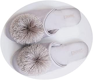 GYANG- Women's Cute Tassel Pom Pom Home Slippers Satin Fabric Indoor Slippers Memory Foam Casual House Shoes,Three Colors to Choose from (Color : Gray, Size : UK(6) EU(39) CN(39))