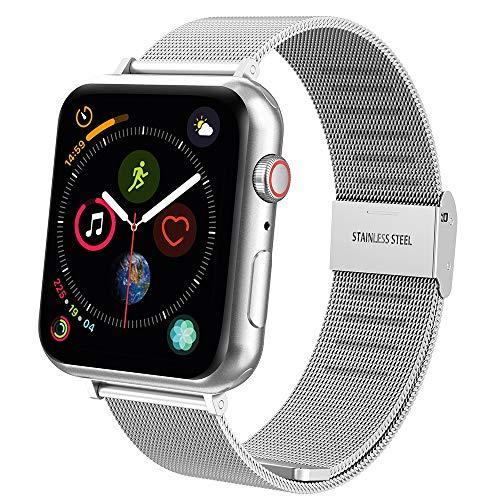 Hianjoo Cinturino Compatibile per Apple Watch 42mm/44mm, Cinturino di Ricambio in Acciaio Inossidabile con Fibbia in Metallo per Apple iWatch Serie 4/3/2/1 - Argento