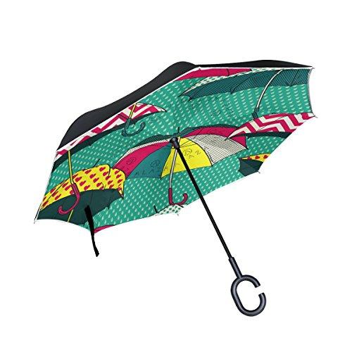 alaza Double-Layer-Inverted Regenschirm Autos umge Regenschirm Retro Comic Regenschirme Winddichtes UVbeweis Reise im Freien Regenschirm