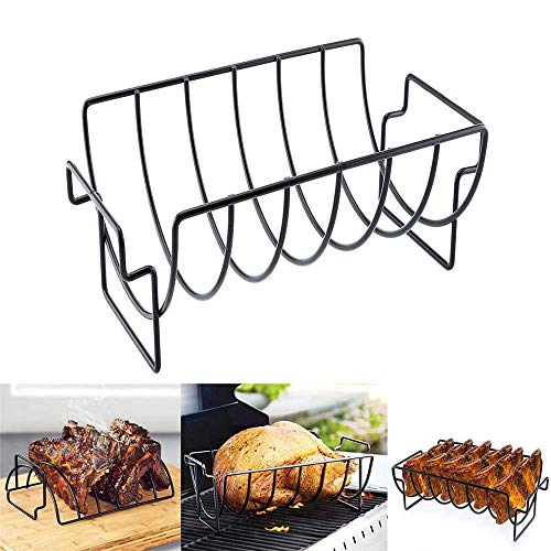 BBQ Rack Grill Chicken Beef Lamb Chop Ribs Nonstick Barbecue Grilling Roasting Stand Steak Holder for Home Restaurant Trip Party