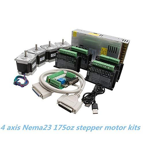 WITHOUT BRAND 1set CNC Router Kit 4Axis, 4 PC-TB6600 4A Schrittmotortreiber + NEMA23 Motor 57HS5630A4 + 5-Achsen-Interface Board + Netzteil (Größe : 8mm)