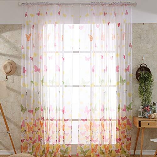 Xinllm gardinen kräuselband gardinen mit kräuselband Wohnzimmer Energiesparende Privatsphäre Schutz net Vorhang Floral Schmetterling Sheer Vorhänge 100X200,Big Pink Butterfly