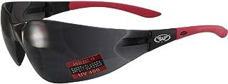 Global Vision Relentless Safety Riding Glasses Red Frame Smoke Lens ANSI Z87.1