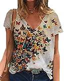 Camiseta con Estampado gráfico de Manga Corta con Cuello en V para Mujer Casual Animal Cat Giraffe Butterfly Print Camisetas Divertidas Tops para el Verano