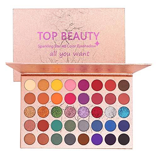 40 colores Paleta de sombras de ojos brillantes Sombra de ojos en polvo Brillo portátil Brillo Maquillaje profesional Maquillaje profesional Pigmentado metálico Sombra