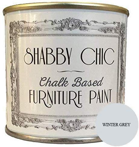 Shabby Chic Chalk Based Furniture Paint - Winter Grey 250ml - Chalked, Use on Wood, Stone, Brick, Metal , Plaster or Plastic, No Primer Needed, Made in the UK