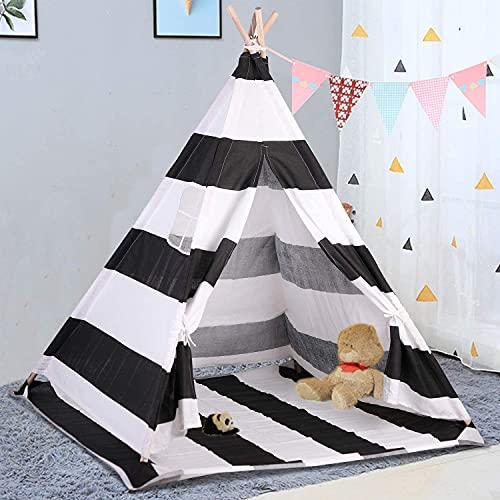 LUVODI Tienda India Infantil Tipi Infantil para Niños Tienda de Campaña de Niños con Puerta y Ventana para Hogar y Al Aire Libre 120 x 120 x 160 cm (Blanco y Negro)