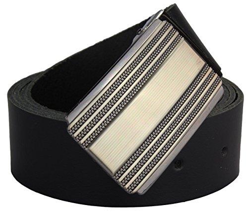 Alex Flittner Designs Ceinture en cuir véritable avec boucle de haute qualité   4cm large   Couleur: noir   Tour de taille: 100