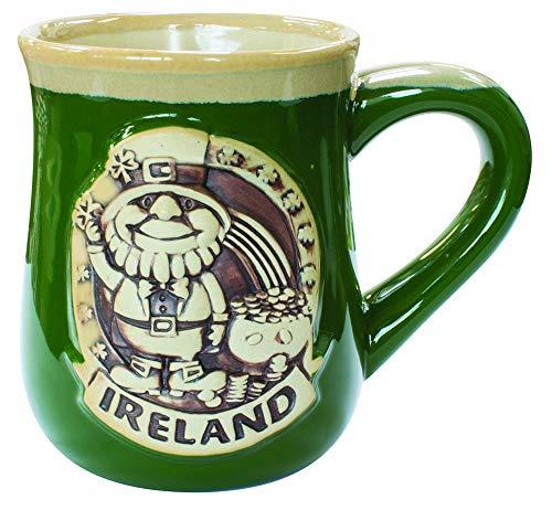 Keramikbecher mit irischem Design eines Kobolds, grün