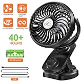 AOMAIS Clip on Portable Stroller Fan 5000mAh Battery Operated Mini USB Desk Clip Fan - 40 Hours(Max) 360° Rotation Rechargable Small Desk Fan, USB Cable Hand Fan for Outdoor Baby Bedroom Car Office
