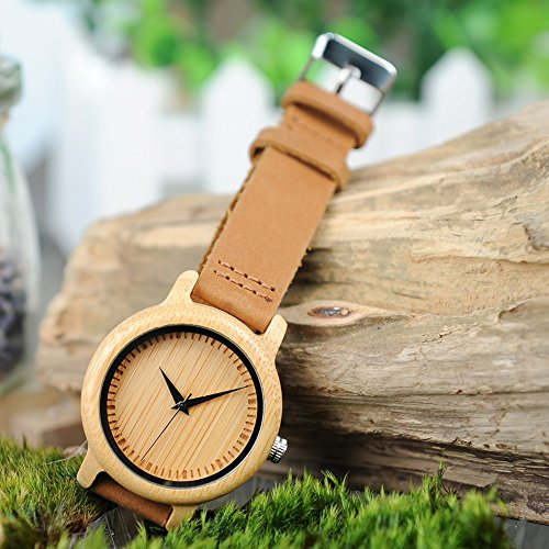 BOBO BIRD Women's Bamboo Wooden Watch with Brown Cowhide Leather Strap Analog Quartz Casual Watches