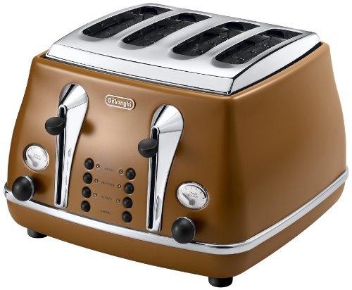 DeLonghi Icona Vintage CTOV 4003.BW Toaster Retro-Design 4 Scheiben Edelstahl Braun