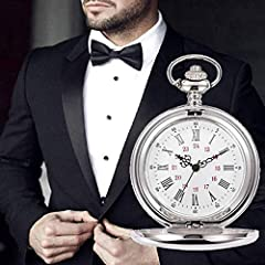 Smooth Vintage Steel Quartz Pocket Watch Classic Fob Pocket Watch with Short Chain for Men Women - Gift for Birthday Anniversary Day Christmas Fathers Day (Silver) #5