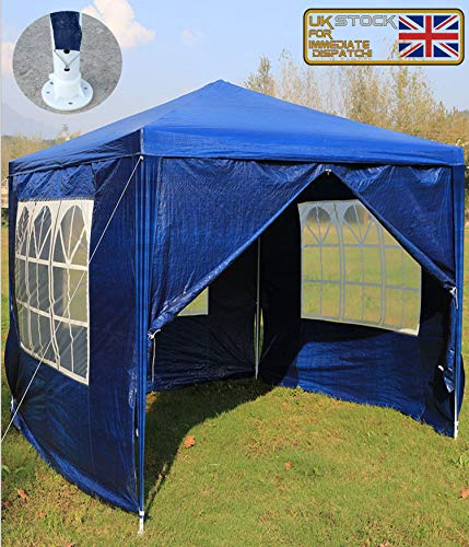 Outdoor Event Shelter Party Tent Commercial Gazebo, Heavy Duty, Fully Waterproof, With 4x Side Panels(Blue, 3m x 3m)
