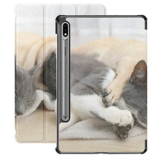 Funda Galaxy Tablet S7 Plus de 12,4 Pulgadas 2020 con Soporte para bolígrafo S, Adorable Pug Lindo Gato acostado Juntos Funda Protectora Tipo Folio con Soporte Delgado para Samsung