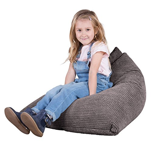 Lounge Pug, Kinder Sitzsack Gaming, Kindersessel, Pom-Pom Anthrazit
