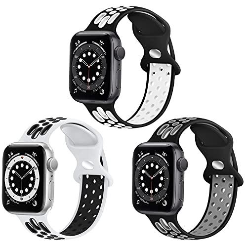 WNIPH Silikon Sportarmband Kompatibel mit Apple Watch Armband 38mm 40mm 42mm 44mm,Weichem Silikon Ersatzarmband für Apple Watch SE iWatch Series 6 5 4 3 2 1