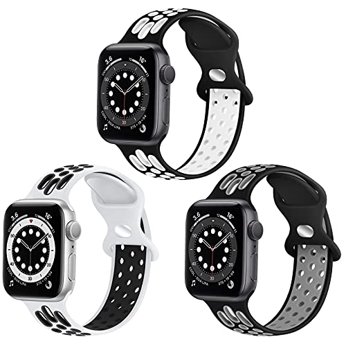 WNIPH Para Apple Watch, compatible con Apple Watch SE, iWatch Series 6, 5, 4, 3, 2 y 1, Apple Watch 44 mm, 42 mm, de silicona Nike Sport