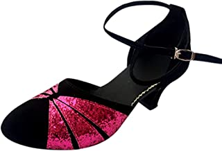 Fainosmny Womens Shoes Sexy Buckle Strap Sandals Ballroom Tango Latin Salsa Dancing Shoes Fashion Sequins Wedding Pumps