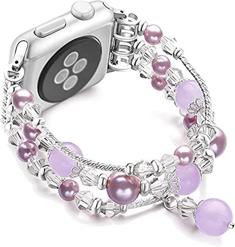 gujiu Pulsera de Perlas de Perlas de Cristal de Cristal de la Moda de la joyería Correa de reemplazo de Las niñas, Compatible con la Serie IWATCH 4/3/2/1 para la Banda de Reloj de Apple 38mm 40mm