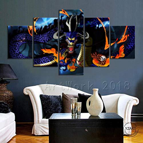 Vendisart Wandposter, Leinwanddruck, modular, 5 Teile, kariert, Kaido One Piece Drache, mit Rahmen, Größe: 200 x 100 cm