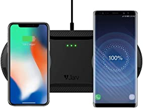 Jarv 20W Fast Wireless Desktop Charging Station Can Simultaneously Charge Two Cell Phones at Once. Certified Qi Enabled Wireless Charging Pad for Apple iPhone/XS/XR/8/8 Plus and More