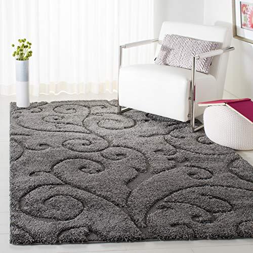 "Safavieh Florida Shag Collection SG455-8013 Scrolling Vine Grey Graceful Swirl Area Rug (3'3"" x 5'3"")"
