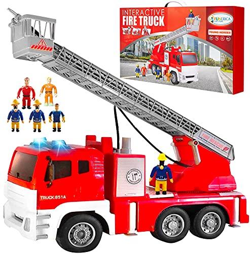 FUNERICA Camión de bomberos interactiva con 5 bomberos con manguera de agua en la escalera extensible, luces intermitentes y sonidos de sirena, motor de bomberos por fricción, el mejor juguete para niños y regalo para niños